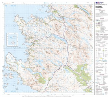 OS Landranger 015 - Loch Assynt, Lochinver & Kylesku - FLAT Rolled in a Tube